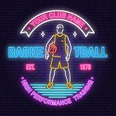 Basketball Club Neon Design Or Emblem. Vector. Concept For Shirt, Print, Stamp Or Tee. Vintage Typog poster