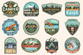 Set Of Summer Camp, Canoe And Kayak Club Badges. Vector. For Patch, Stamp. Design With Camping, Moun poster