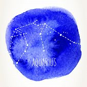 Aquarius Hand Drawn Zodiac Sign Constellation Over Blue Watercolor Circle. Vector Graphics Astrology poster