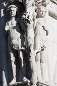 stock photo of adam eve  - adam and eve statue on the dodge palace pazzia san marco saint mark place in the beautiful city of venice in italy - JPG