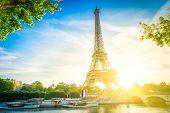 Eiffel Tower Landmark From Trocadero At Sunrise, Paris France, Toned poster