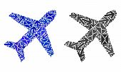 Mail Airplane Icon Mosaic Of Envelopes And Arrows With Blue Color. Abstract Vector Airplane Illustra poster
