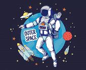 Doodle Astronaut. Hand Drawn Space Boys Poster, Planet Stars Space Objects, Astronomy Cartoon Elemen poster