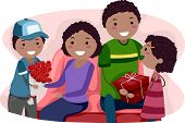 Illustration of Kids Giving Their Parents Valentine's Gifts