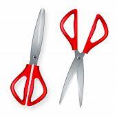 Scissor Vector. 3d Realistic Scissor Icon. Plastic Handles. Opened And Closed. Paper Cut. School, Of poster