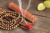 Stick Holder, Natural Incense Stick  With Smoke And Mala Beads For Meditation And Relax. poster
