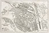Le Creusot old plan, France. Created by Dumas-Vorzet and Erhard, after Simonin, published on Le Tour