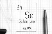 The Periodic Table Of Elements. Handwriting Chemical Element Selenium Se With Black Pen, Test Tube A poster