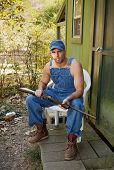 stock photo of redneck  - Handsome but threatening - JPG