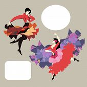 Flamenco Dancer Man And Dancer Woman In Spanish National Clothes Isolated On Gray Background In Vect poster
