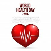World Health Day Vector Illustration With Text, Realistic 3d Heart And Heartbeat. Medicine And Healt poster