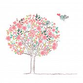 blooming tree and birds in love