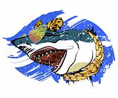 Shark Print For Summer T-shirt. Youth Drawing, Funny Shark. Vector Emblem. poster