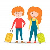 Little Girl And Boy Traveler Stands, Holding A Suitcase On Wheels. Ready To Travel Red Hair Teenager poster