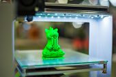 Print Head Of 3d Printer Machine Printing Plastic Model Of Green Toy Dragon At Modern Scifi Technolo poster
