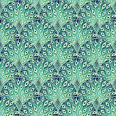 Peacock Art Deco Seamless Pattern. Art Nouveau Vintage Background poster