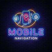 Mobile Navigation Neon Sign Vector. Mobile Navigation Neon Design Template, Modern Trend Design, Nig poster