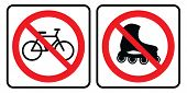 No Bicycle Symbol And No Roller-skate Sign.prohibition Sign Vector Illustration.no Bicycle Symbol An poster