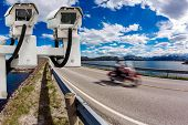 Radar speed control camera on the road poster