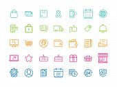 Set Of 35 Minimal Modern Thin Icons For Online Shopping And E-commerce. E-commerce And Shopping Vect poster