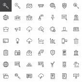 Business And Finance Line Icons Set. Linear Style Symbols Collection, Outline Signs Pack. Vector Gra poster