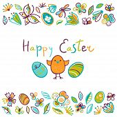 Happy Easter Greeting Card. Cute Hand-drawn Illustration With Flowers, Chicken, Eggs, Cute Insects A poster