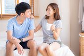 Beautiful Portrait Young Asian Couple Give A Cup Of Coffee With Smiling And Happy Together, Family T poster