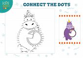 Connect The Dots Kids Game Vector Illustration. Preschool Children Education Activity With Joining D poster