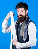 Seeking Something Other Than A Classic Necktie. Fashionist Or Hipster. Bearded Hipster Holding White poster