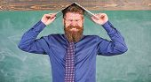 Hipster Teacher Aggressive With Laptop As Roof Goes Mad About Teaching. Teacher Bearded Man With Mod poster