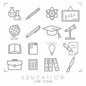 Outline Thin Black And White Icons Set. Education Collection. Chemisrty, Physics, Mathematics, Geogr poster