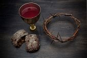 Communion And Passion - Unleavened Bread Chalice Of Wine And Crown Of Thorns poster