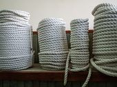 A Large Number Of The Twisted Ropes In A Roll. Ropes On A Counter Of Shop. Sale Of Various Ropes. Wi poster
