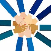 Teamwork Hands In Working Group, Business Partnership Icon poster