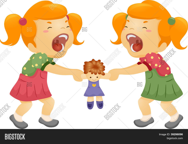 """Illustration des Zwillings-Schwestern Streit um eine Puppe"""" Stock ..."""