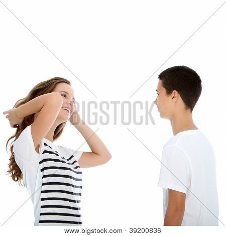 Young Teenage Couple Talking