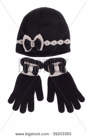 Set Of Pairs Of Gloves And Knit Hat