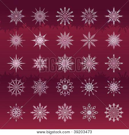 Set Of Snowflakes Vinous Background