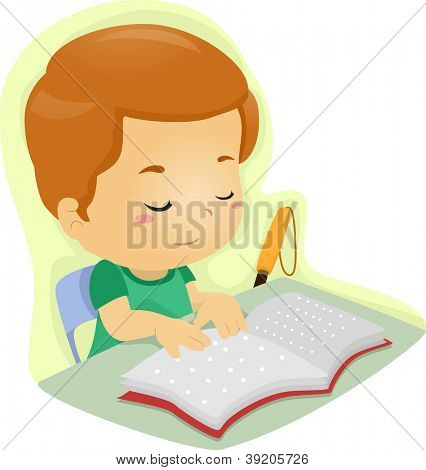 Illustration of a Blind Boy Reading a Book Written in Braille