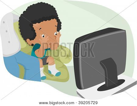 Illustration of a Nervous Boy Watching a Scary TV Show