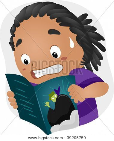 Illustration of a Frightened Boy Reading a Horror Comics