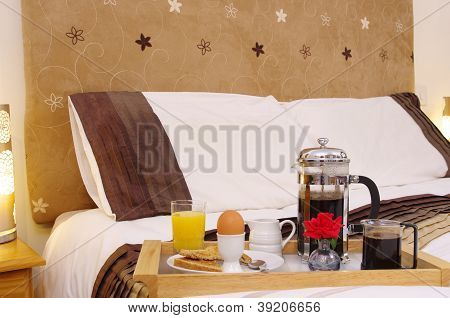 Boiled Egg Breakfast on Hotel Bed