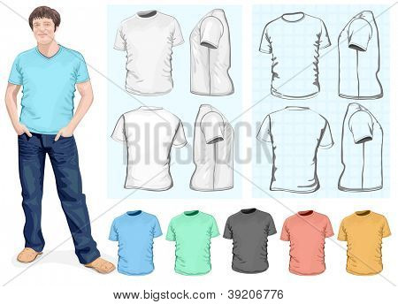 Vector. Men's t-shirt design template (front, back, side view). Different variants