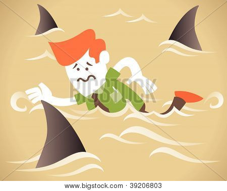 Corporate Guy Swimming With Sharks