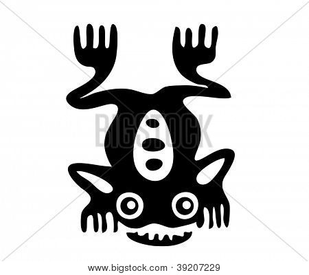 Frog in the style of the Maya, vector illustration