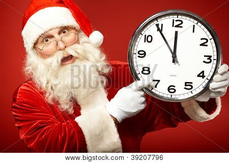 Photo of Santa holding clock showing five minutes to midnight and warning about forthcoming Christmas
