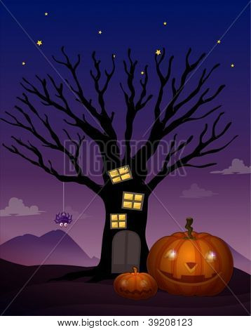 illustration of a halloween in a dark night