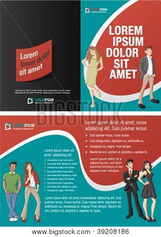 Red and green template for advertising brochure with cartoon business people