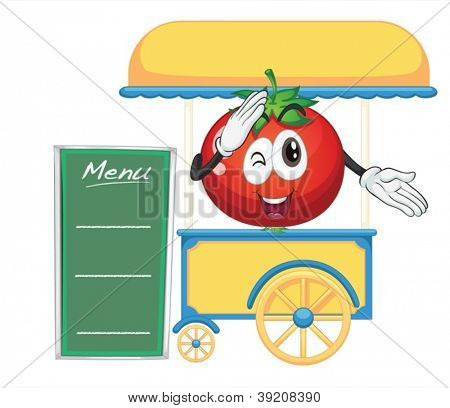illustration of a cart stall and a tomato on a white background