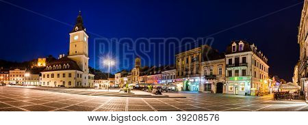 Council Square Nightview In Brasov, Romania